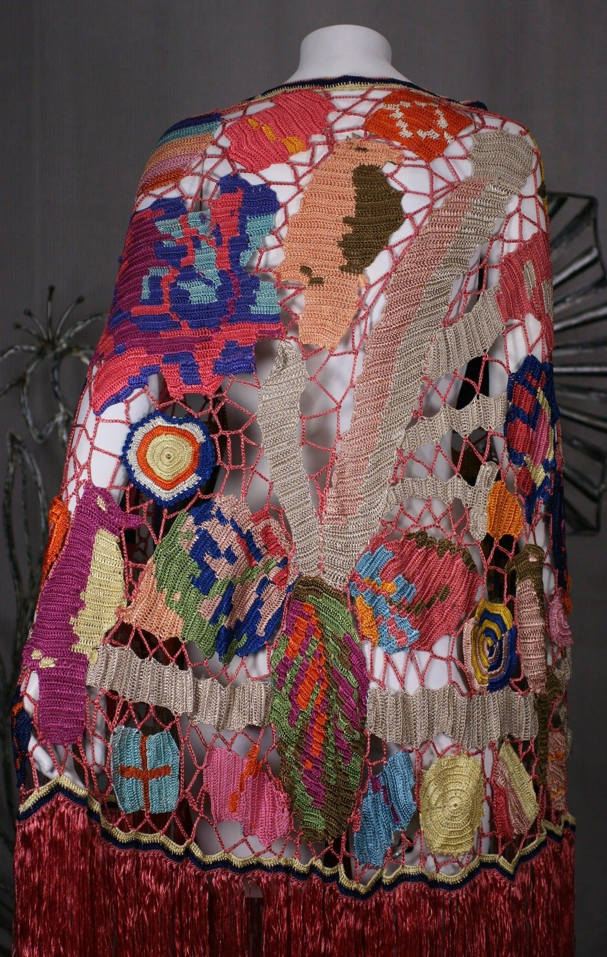Amazing Austrian Secessionist Hand Crochet Shawl 7
