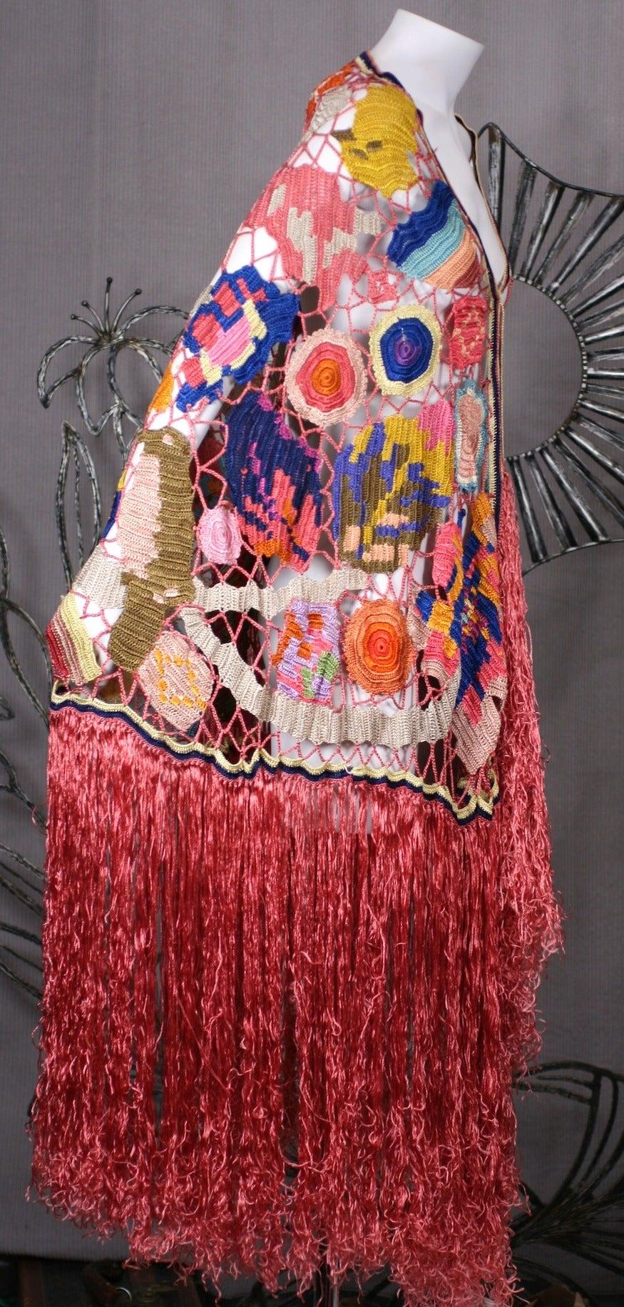 Amazing Austrian Secessionist Hand Crochet Shawl 8
