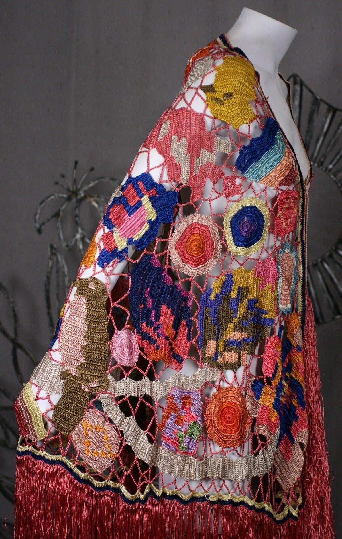 Amazing Austrian Secessionist Hand Crochet Shawl 9
