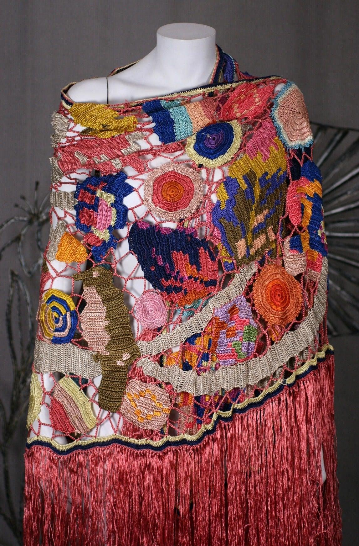 Amazing Austrian Secessionist Hand Crochet Shawl 10