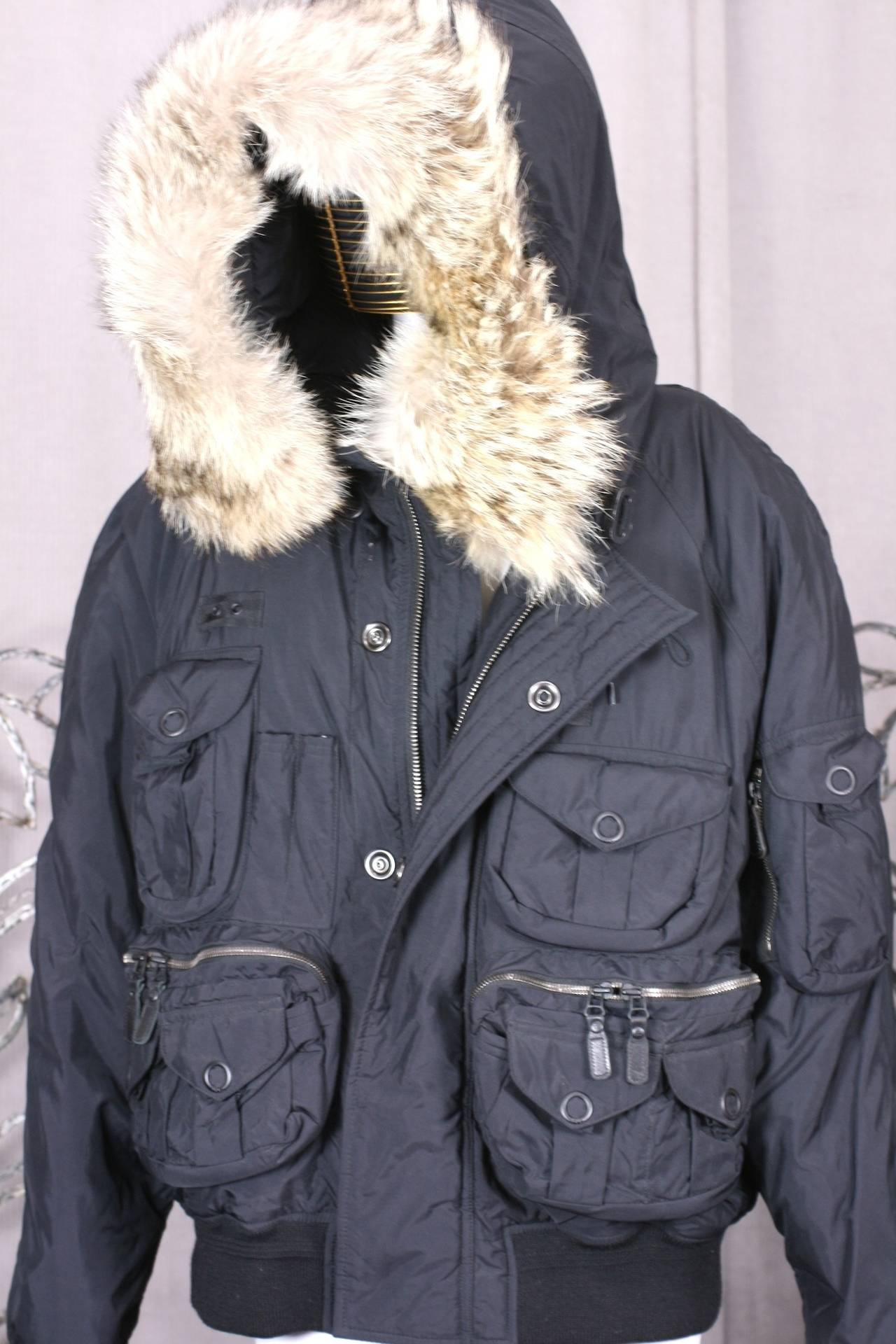 Polo Men S Fur Trimmed Techno Bomber Jacket At 1stdibs