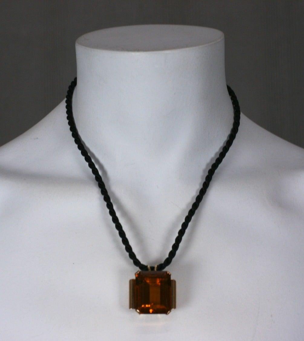 Women's Retro Citrine Pendant Necklace For Sale
