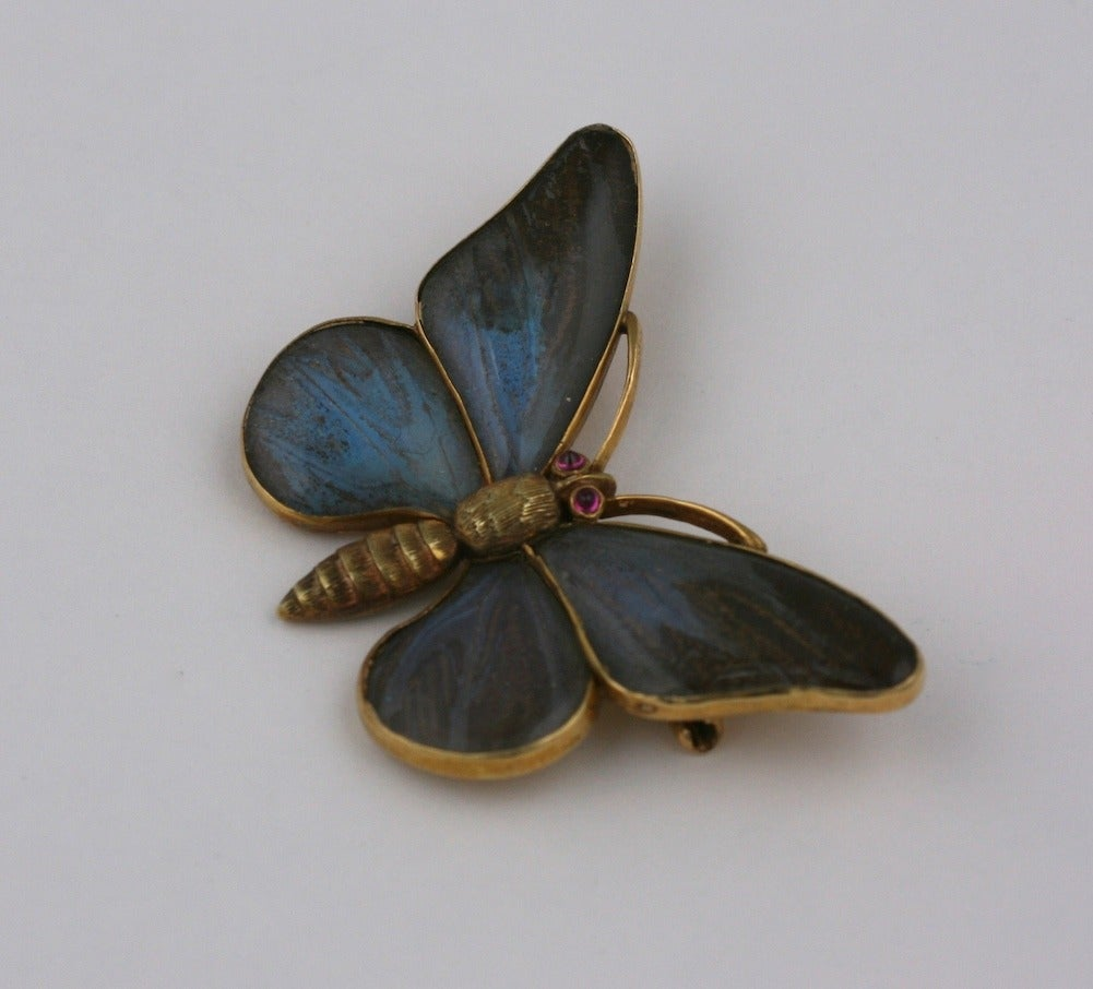 Wonderful Victorian butterfly brooch with extraordinary detailing. The wings are panels of rock crystal which encase genuine butterfly wings. The iridescence of the wings is captured under the rock crystal and is as crisp as when the piece was