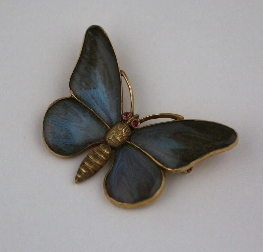 Victorian Rock Crystal Gold Butterfly Brooch In Excellent Condition In Riverdale, NY