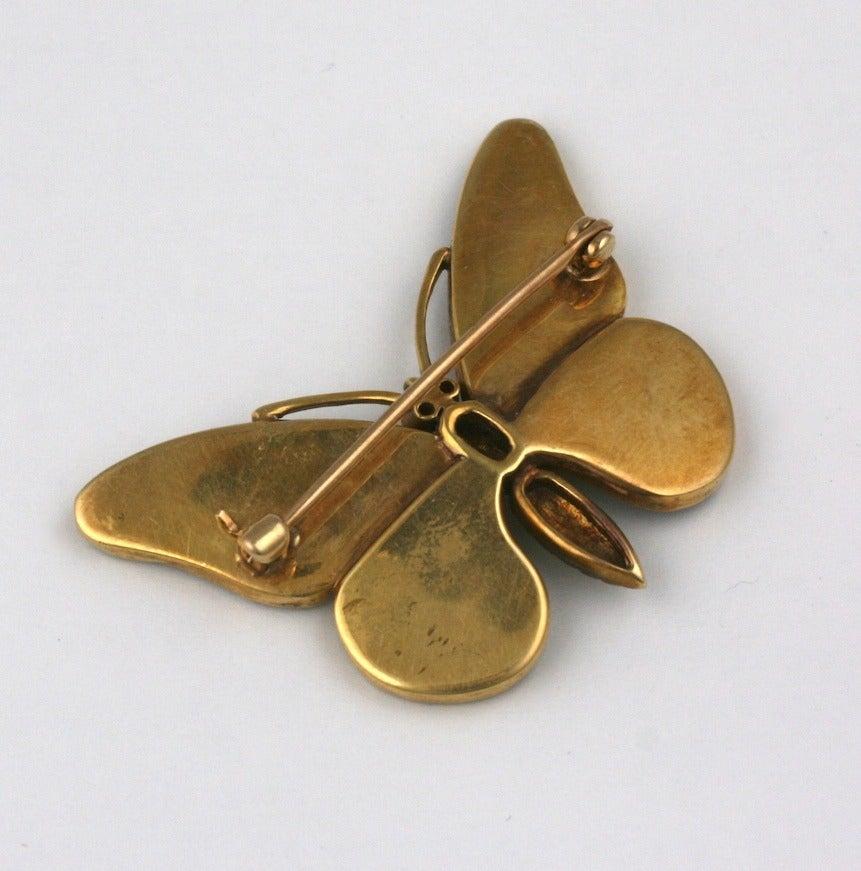 Women's or Men's Victorian Rock Crystal Gold Butterfly Brooch
