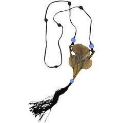 Large Art Nouveau Horn Iris Pendant, Elizabeth Bonte