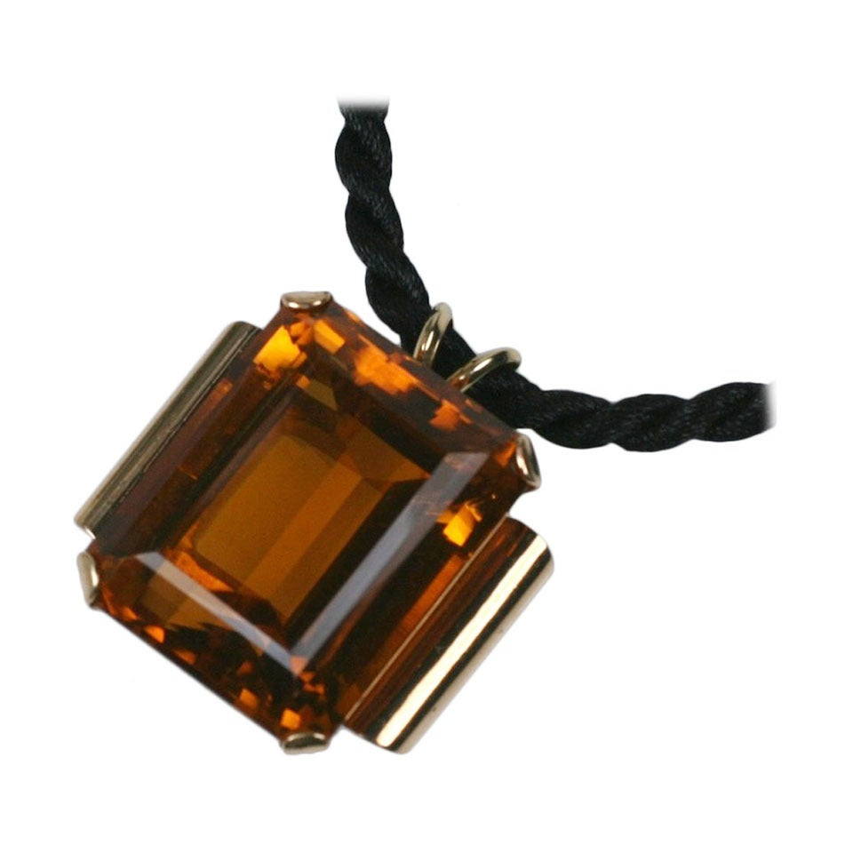 Retro Citrine Pendant Necklace