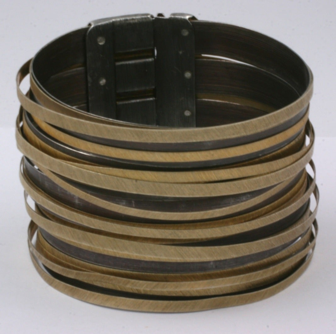"""Artisanal Gilt Sterling """"Strap"""" Cuff In Excellent Condition For Sale In Riverdale, NY"""