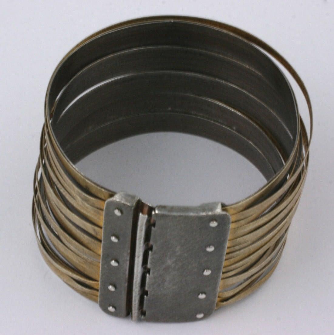 "Women's or Men's Artisanal Gilt Sterling ""Strap"" Cuff For Sale"