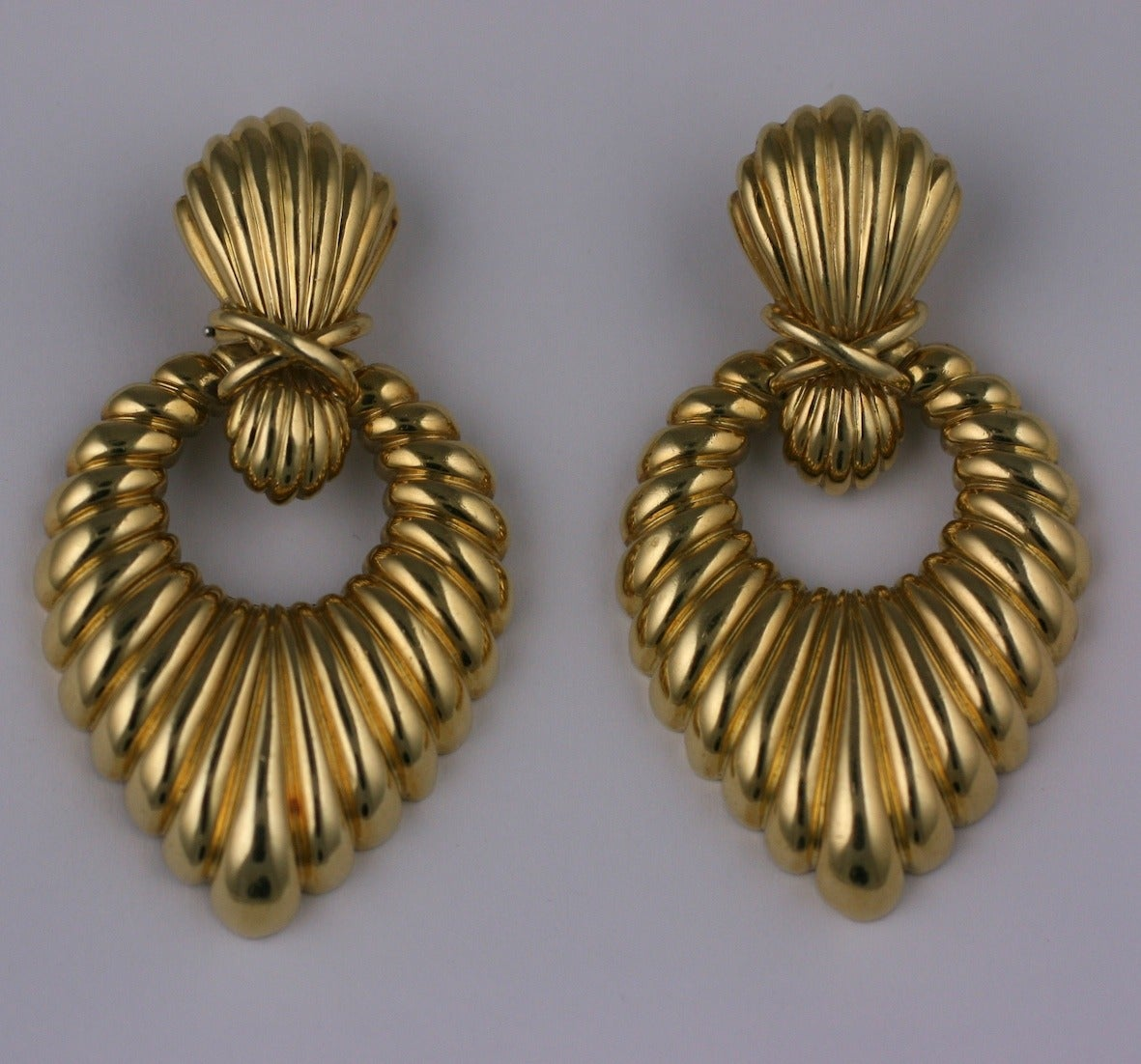 Hammerman Bros. Ribbed Gold Earrings 2