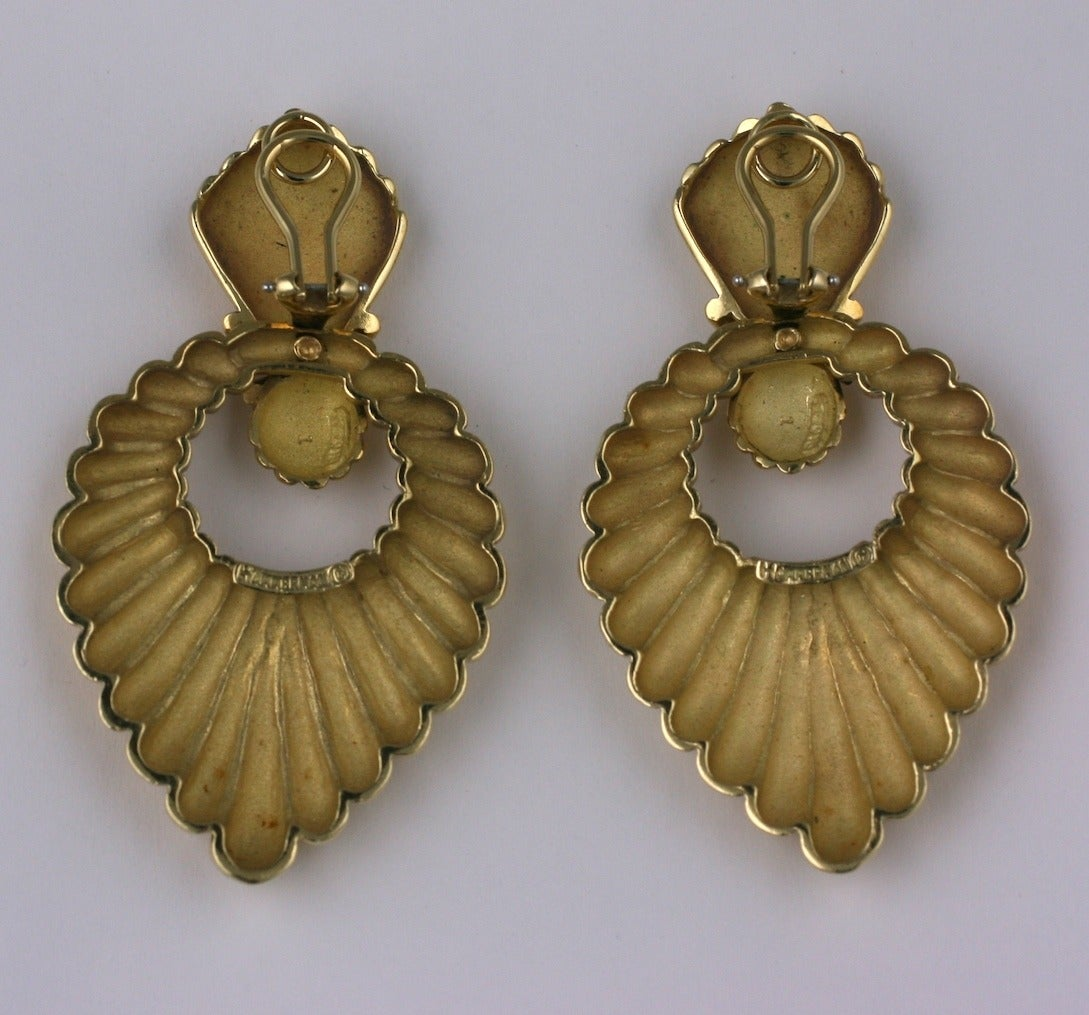 Hammerman Bros. Ribbed Gold Earrings 3