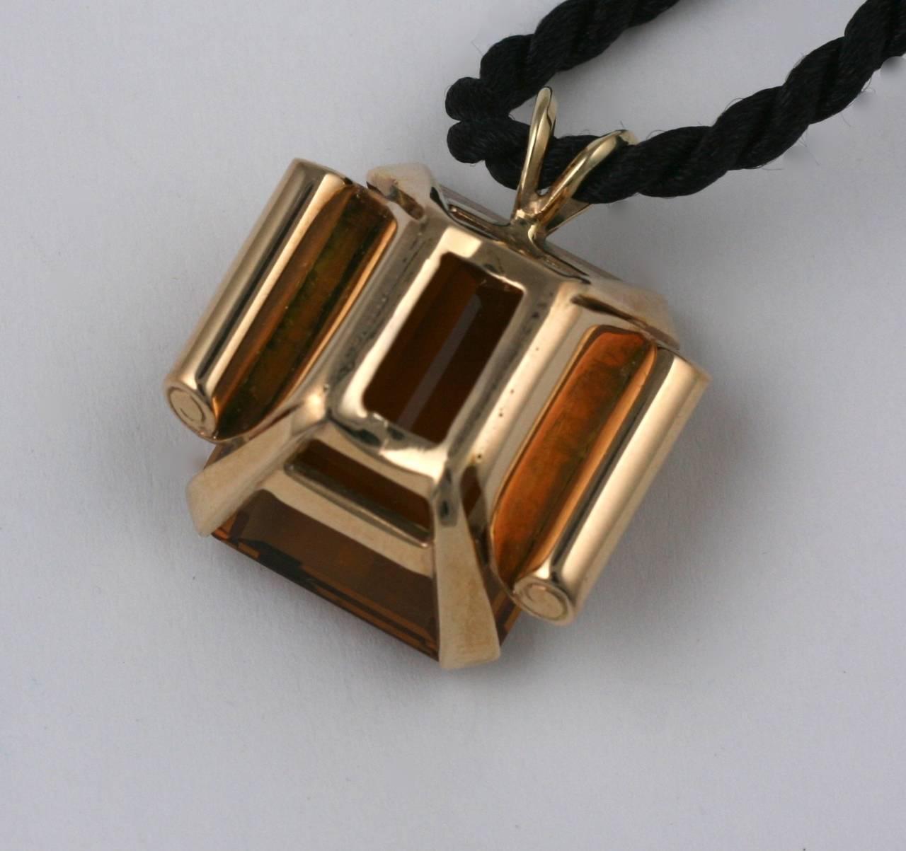 Retro Citrine Pendant Necklace For Sale 2
