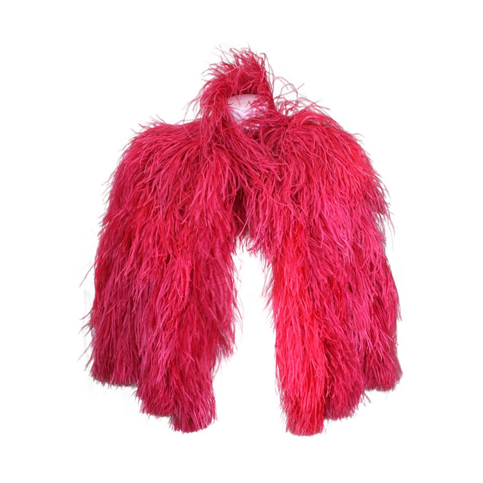 Vivid Red Art Deco Ostrich Cape For Sale