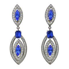 Italian Long Blue and Crystal Earrings