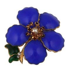 Coco Chanel Lapis Blue  Poured Glass  Camelia Sprig Brooch