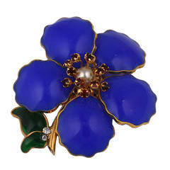Chanel Lapis Poured Glass Flower Sprig Brooch