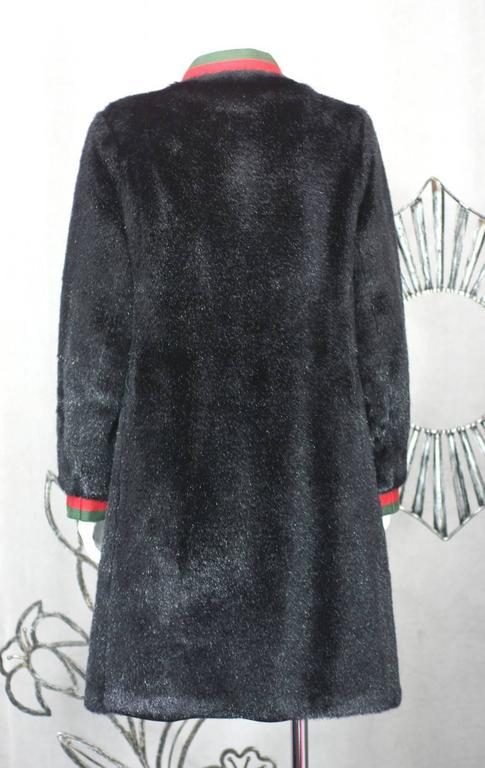 Black Calvin Klein Faux Fur Coat For Sale