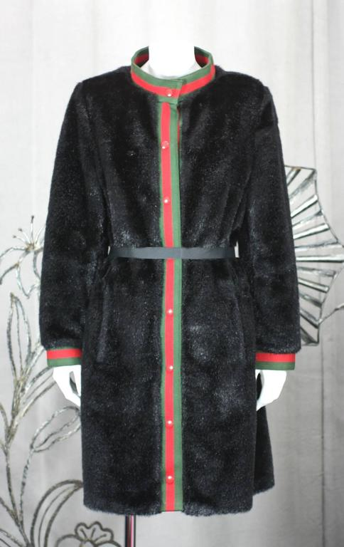 Calvin Klein Faux Fur Coat In Excellent Condition For Sale In Riverdale, NY