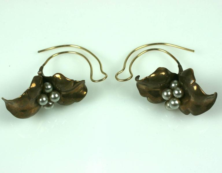 Unusual Artisan Cala Lily Earrings For Sale 1