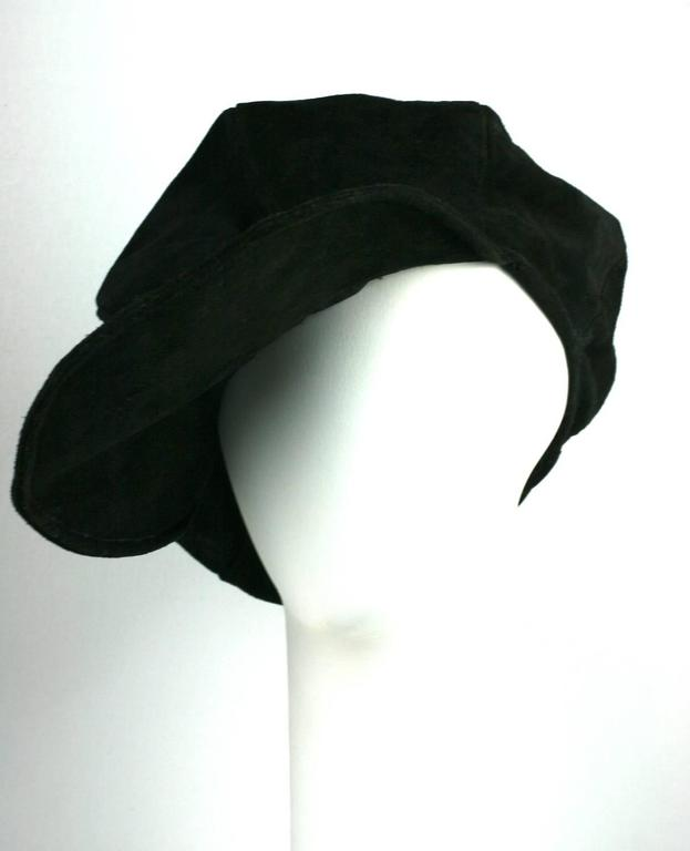 """""""Ziggy"""" de Zigou, """"club kid"""" heavy suede cap. Oversized """"paperboy"""" style, exaggerated to the maximum. Massive circular brim and pieced, almost sperical body allow for charming experimentation in wearing this piece. Zigou was a French hat designer"""