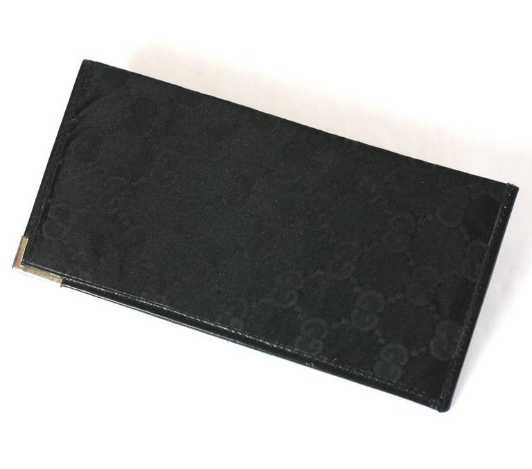 Gucci Silk Satin Logo Fold with sterling tipped corner, for holding cash or papers in an elegant manner. Logo