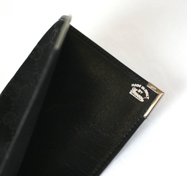 Black Gucci Silk Satin Logo Fold For Sale