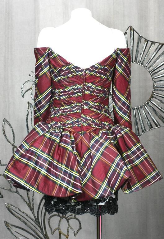 Black Vicky Tiel Plaid Silk Cocktail Dress For Sale