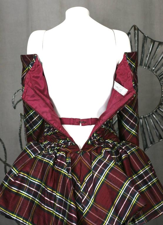 Vicky Tiel Plaid Silk Cocktail Dress In Excellent Condition For Sale In Riverdale, NY