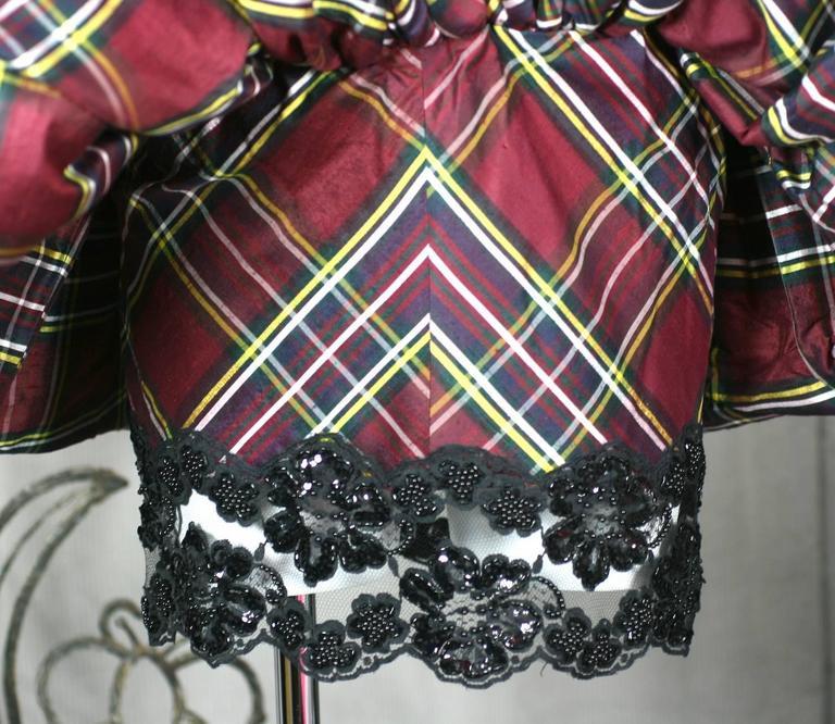 Vicky Tiel Plaid Silk Cocktail Dress For Sale 1