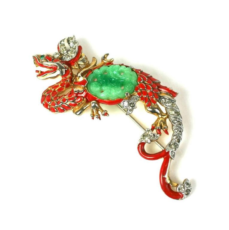 Trifari Ming Dragon Suite from the early 1940's. Rare and collectible series by Alfred Phillipe for Trifari. Peking glass