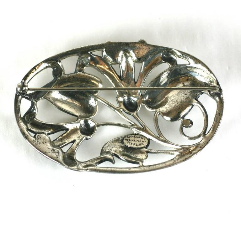 Danecraft Cast Sterling Silver Floral Brooch In Excellent Condition For Sale In Riverdale, NY