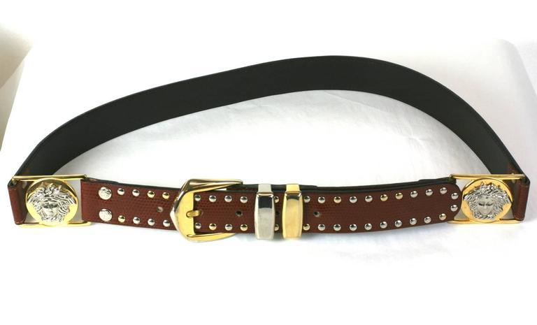 Black Gianni Versace Studded Medusa Mens Belt For Sale