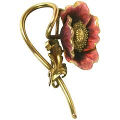 Art Nouveau Enamel Poppy Brooch