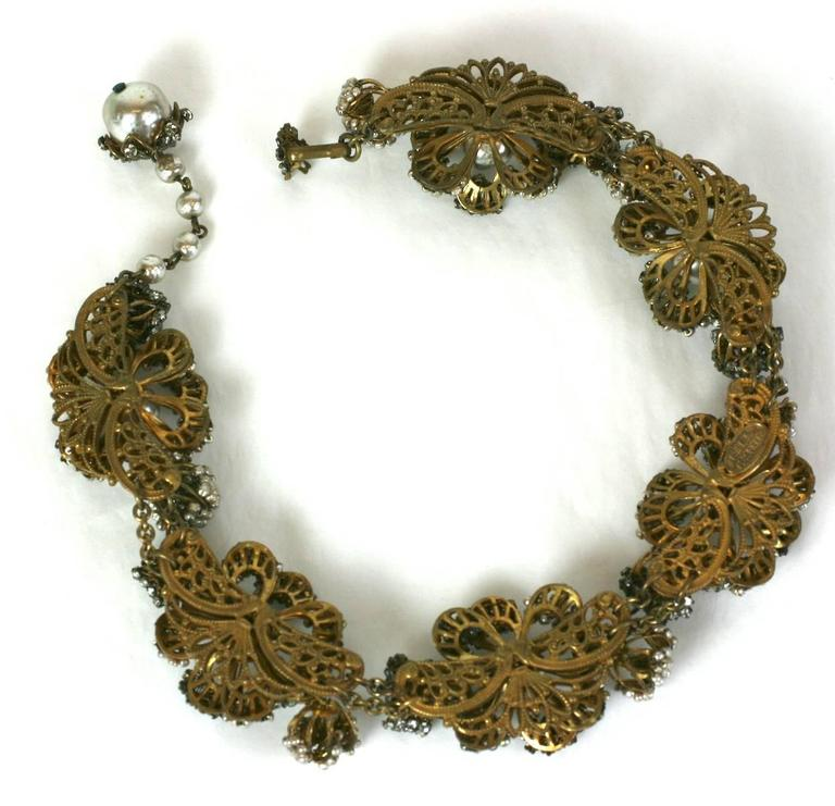 Women's Miriam Haskell Massive Rose Monte and Faux Pearl Flower Collar For Sale
