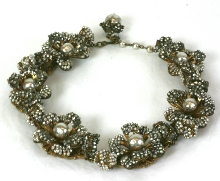 Miriam Haskell Massive Rose Monte and Faux Pearl Flower Collar In Excellent Condition For Sale In Riverdale, NY