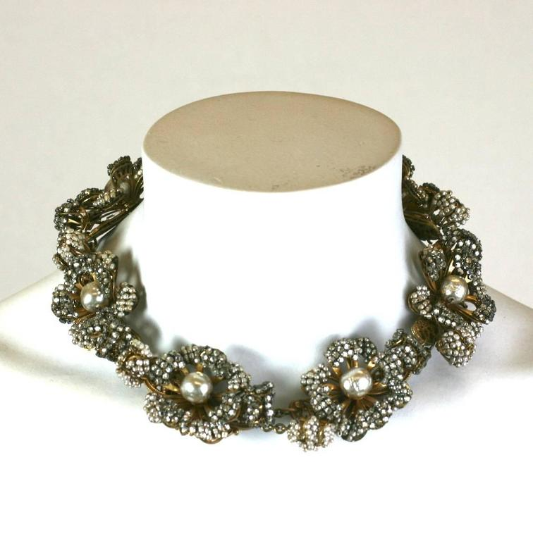 Miriam Haskell Massive Rose Monte and Faux Pearl Flower Collar For Sale 2