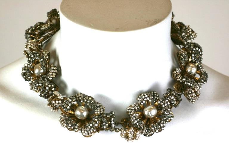 Miriam Haskell Massive Rose Monte and Faux Pearl Flower Collar For Sale 3