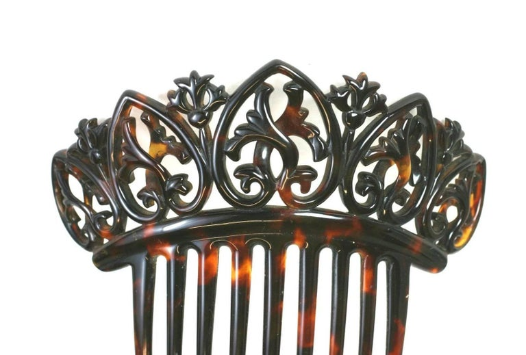 Women's Elaborate Victorian Tortoise shell Comb For Sale