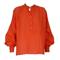 Yves Saint Laurent Bright Orange Peasant Blouse