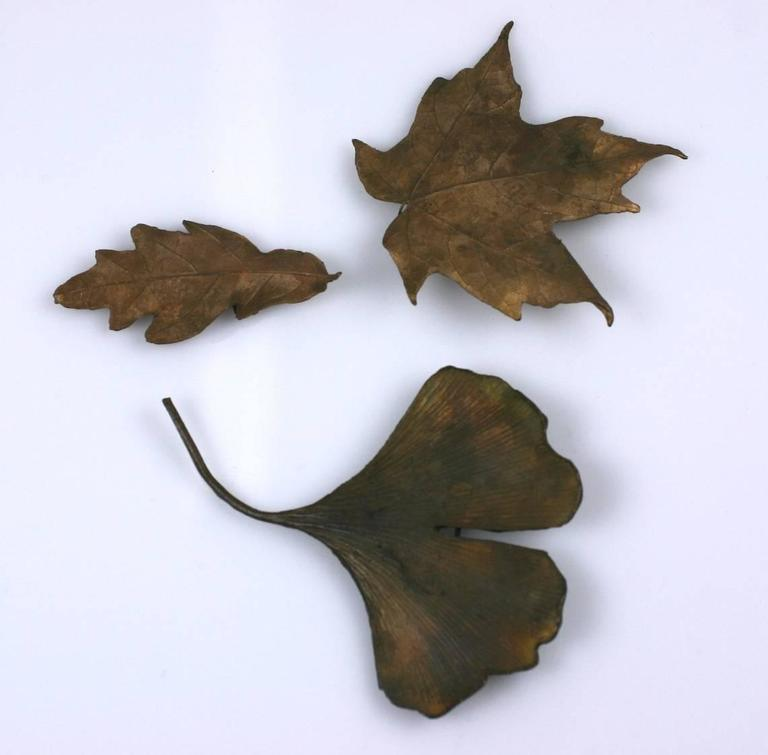 Bronze Lost Wax Leaf Brooches 2