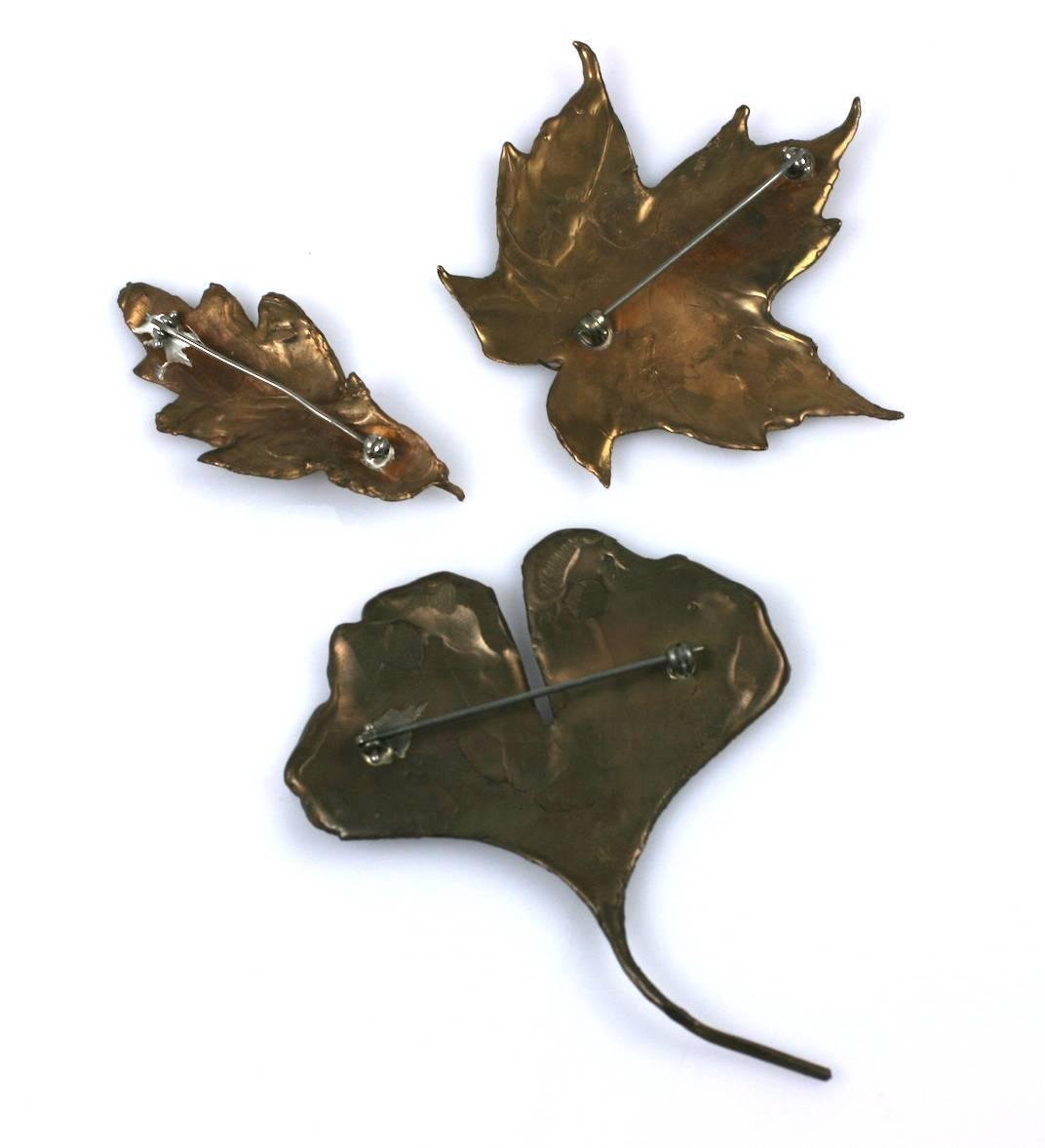 Bronze Lost Wax Leaf Brooches at 1stdibs