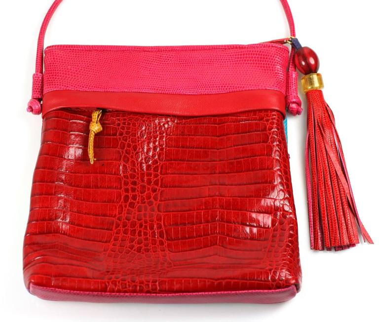 Red Sharif Vibrant Pieced Shoulder Bag For Sale