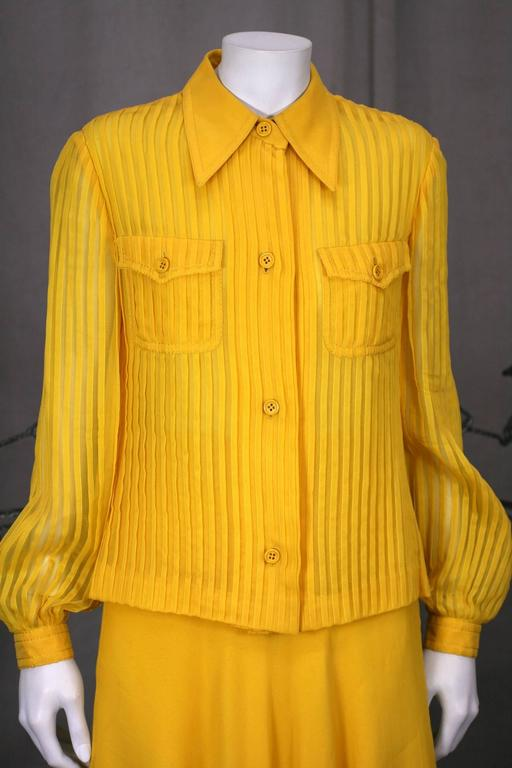 Galanos Charming Chrome Yellow Chiffon Skirt Ensemble In Excellent Condition For Sale In Riverdale, NY