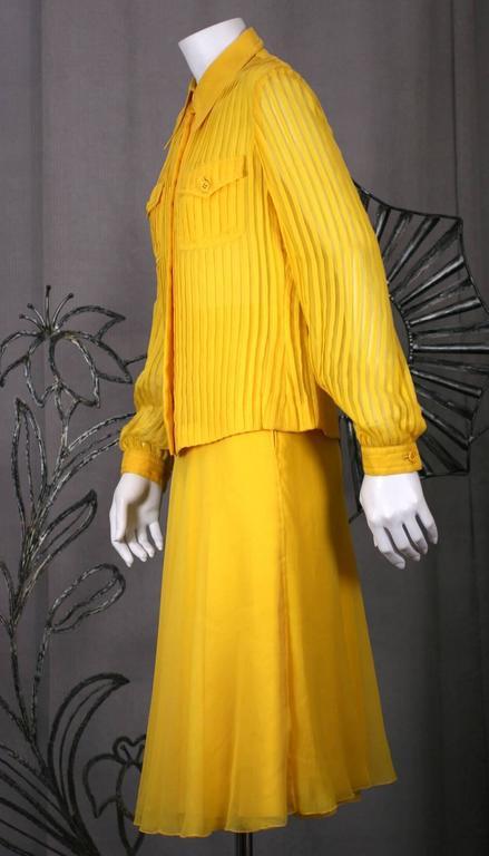 Women's Galanos Charming Chrome Yellow Chiffon Skirt Ensemble For Sale