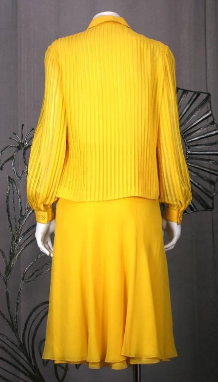 Galanos Charming Chrome Yellow Chiffon Skirt Ensemble For Sale 1