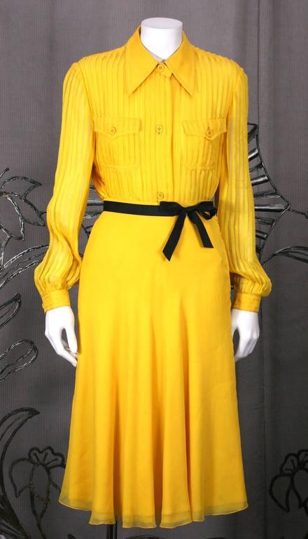 Galanos Charming Chrome Yellow Chiffon Skirt Ensemble 6