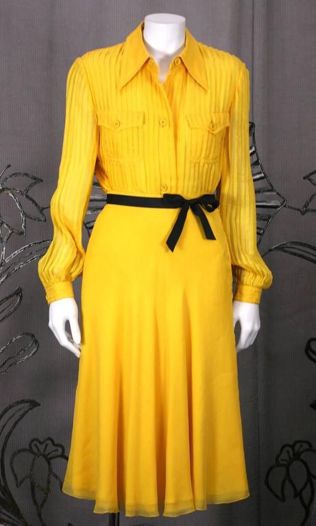 Galanos Charming Chrome Yellow Chiffon Skirt Ensemble For Sale 3