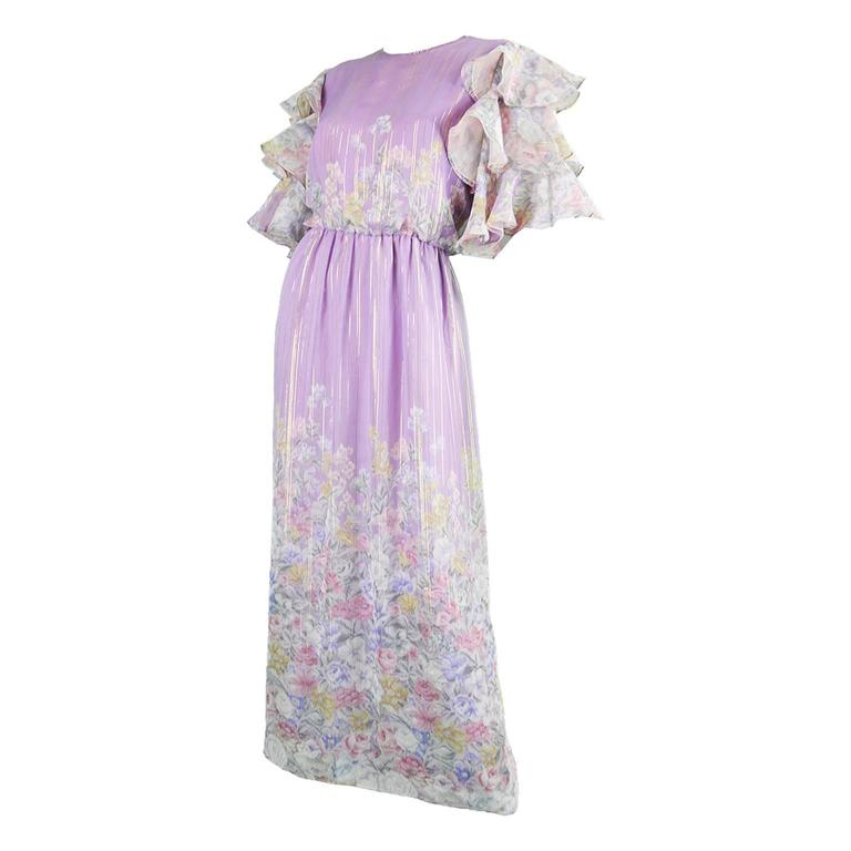 Hanae Mori Purple and Pastel Floral Printed Ruffle Sleeve Maxi Dress, 1980s