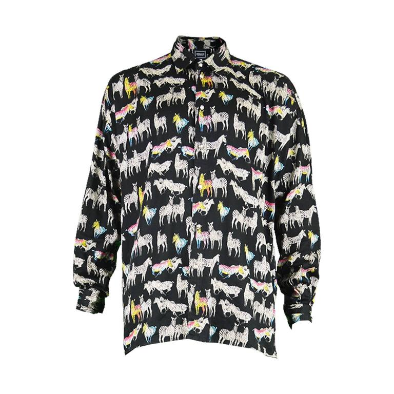 397c9aeb Versace Jeans Couture Rainbow Zebra Men's Cotton Shirt. Made in Italy, 1990s