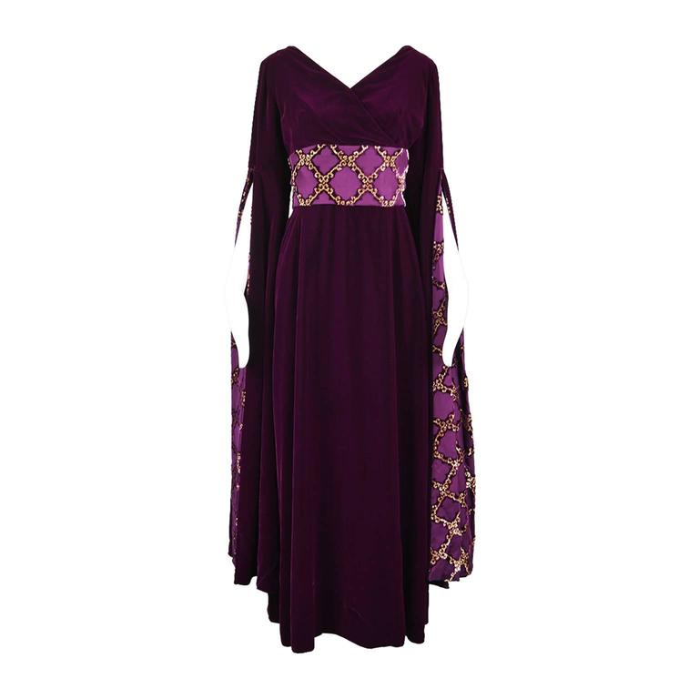 Troubadour Renaissance Inspired Velvet & Brocade Evening Gown, c. 1970 1